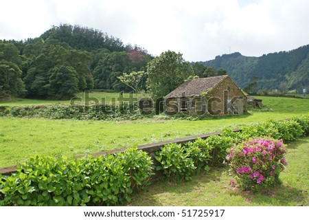 Old house close to the town Sete Cidades on the island of Sao Miguel which is a part of the Azores Islands