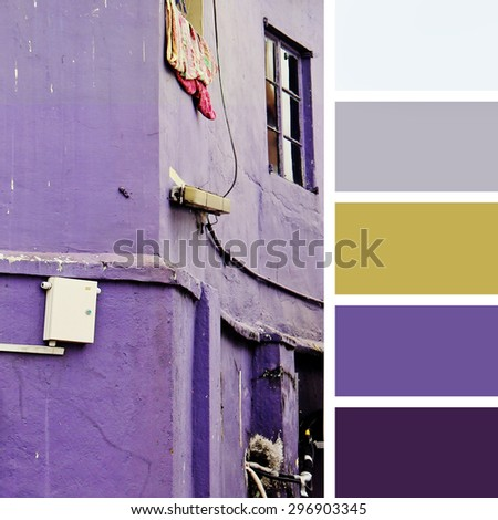 old house.  color palette swatches.