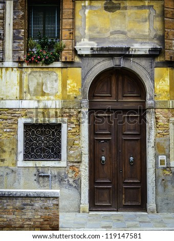 Old House facade in Venice, italy - stock photo