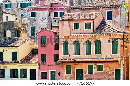 Old house facades in Venice, Italy - stock photo