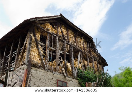 Old house for hay in village