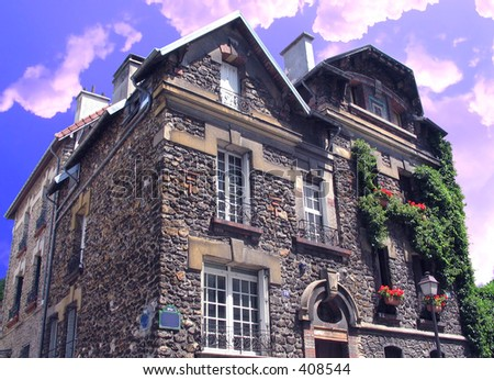 Old house from XIX century in Paris at top Monmartr - stock photo
