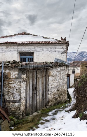 Old house in Antartiko village, Florina, Greece - stock photo