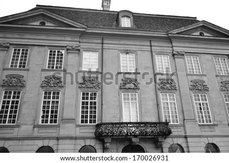 Old house in the center of Zurich, Switzerland. Black and white.