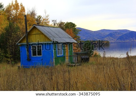 Old house in the coast of the lake Baikal, Russia