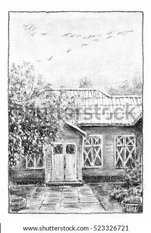Old house in the garden. Cottage, apple tree, flock of birds in the sky. Charcoal drawing.