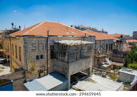 Old house in the Old City of Jerusalem - stock photo