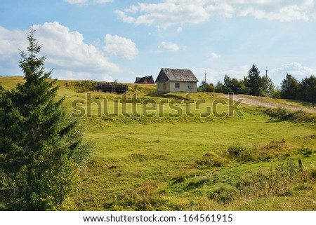 Old house in the woods. Carpatian mountains - stock photo