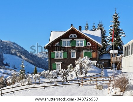 Old house in Toggenburg, Swiss Alps - stock photo