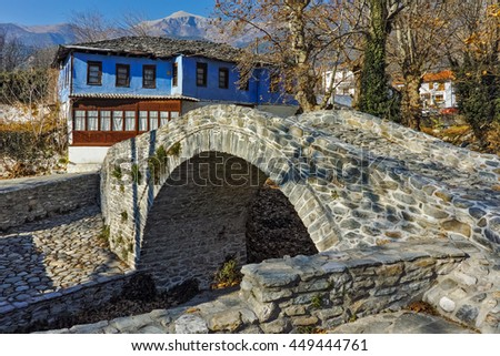 Old house in village of Moushteni near Kavala, East Macedonia and Thrace, Greece - stock photo