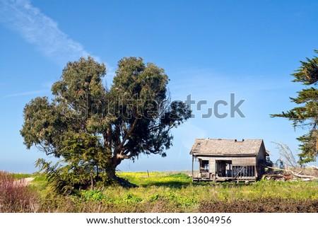 Old House on Coastal Highway - stock photo
