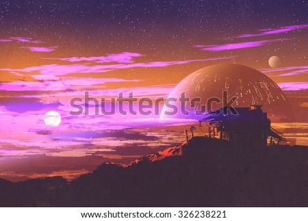 old house on planet background,illustration painting - stock photo