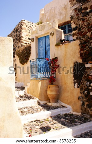 Old house on Santorini island - stock photo