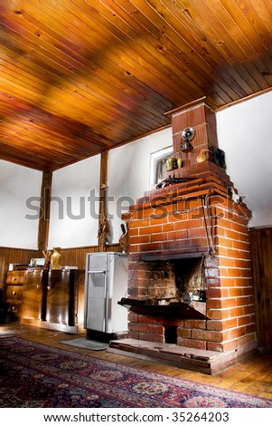 old house room with a chimney, hdr photo with multiple light sources