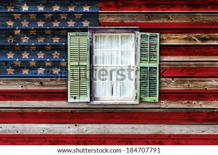 Old House With American Flag   - stock photo