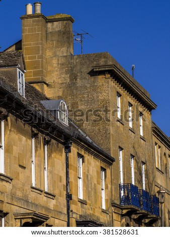 old houses high street chipping campden cotswolds uk - stock photo