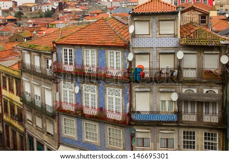 old houses in down town of Porto, Portugal - stock photo