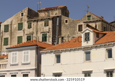 Old houses in historical old town of Sibenik, Croatia