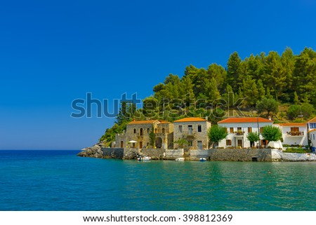 Old houses in Kipparissi village in Peloponnese in Greece