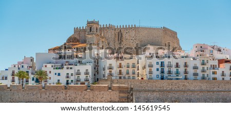 Old houses in Peniscola castle in Spain - stock photo