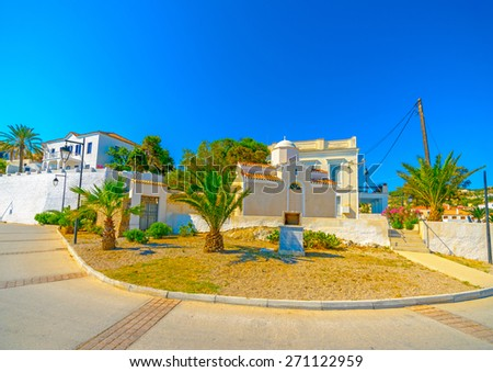 old houses in Spetses island in Greece - stock photo