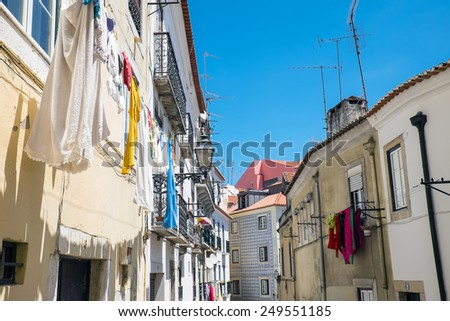 Old houses in the Alfama district in Lisbon, Portugal - stock photo