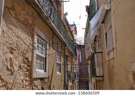 Old houses in the center of Lisbon