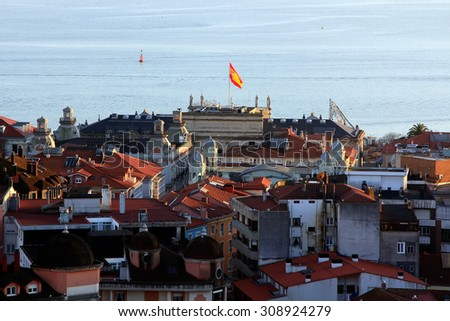 old houses in the city of Santander in Spain - stock photo