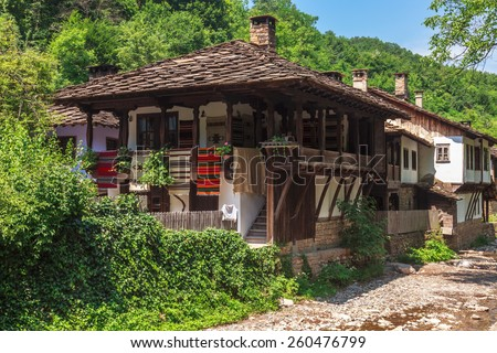 Old houses in the Etar Museum, Bulgaria. - stock photo