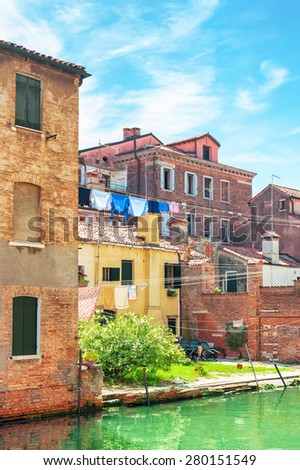 Old houses in Venice, Italy. - stock photo