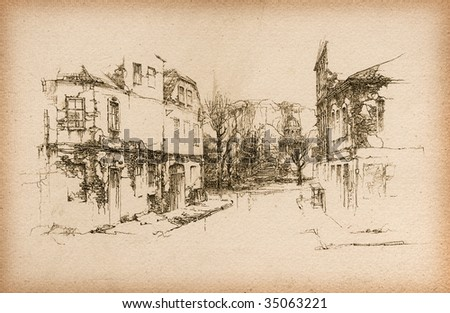 Old houses. Made by ink on paper. - stock photo