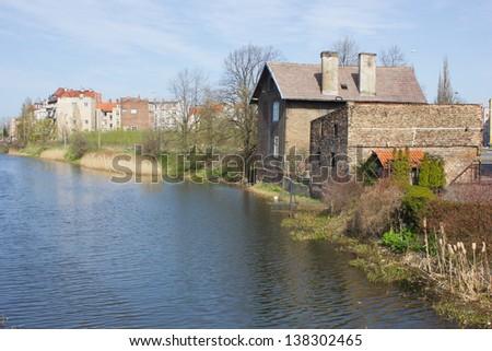 old houses on riverside of Gdansk - stock photo