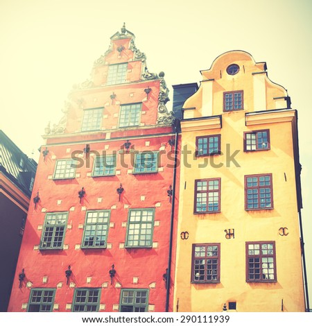 Old houses on Stortorget square, Stockholm, Sweden. Retro style filtred image - stock photo