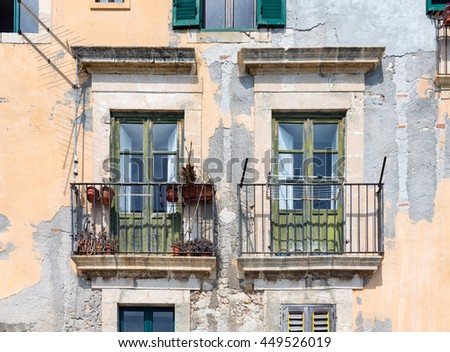 Old houses with balcony at Syracuse, Sicily Italy