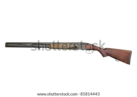 Old hunting gun TOZ-34ER, isolated on a white background - stock photo