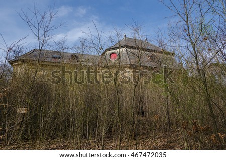 old hunting lodge in the forest