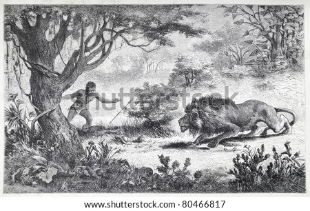 """Old illustration depicting a Betschuana tribe man finds his brother eaten by a lion, drawn by Karl Liebscher in Emil Holub's """"Seven Years in South Africa"""", published in Vienna, 1881 - stock photo"""