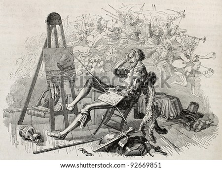 Old illustration depicting a painter daydreaming in his atelier. By unidentified author, published on Magasin Pittoresque, Paris, 1845 - stock photo