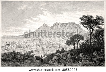 """Old illustration depicting Capetown in South Africa in 1880, drawn by J. Vanione in Emil Holub's """"Seven Years in South Africa"""", published in Vienna, 1881 - stock photo"""