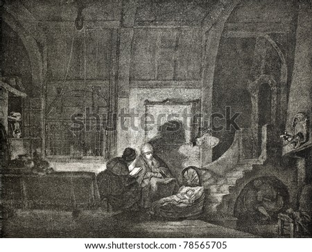 Old illustration depicting Dutch mother and father night watching baby. Created by Rembrandt, published on L'Illustration Journal Universel, Paris, 1857