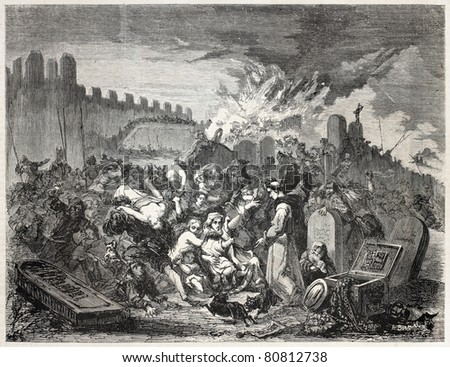 Old illustration depicting torment of Jews. Created by Beyer and De Strasbourg, published on L'Illustration, Journal Universel, Paris, 1857 - stock photo