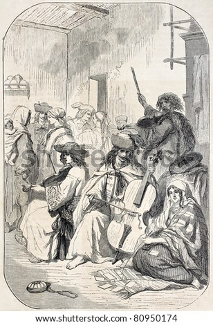 Old illustration depicting Tzigane musicians playing string instruments. Created by Valerio, published on L'Illustration, Journal Universel, Paris, 1857 - stock photo