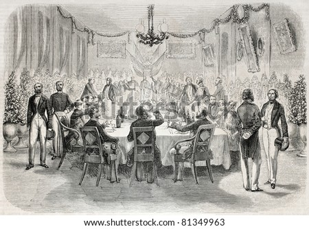 Old illustration of a banquet in Batavia offered by French consul. Created by Engelu, published on L'Illustration, Journal Universel, Paris, 1857 - stock photo