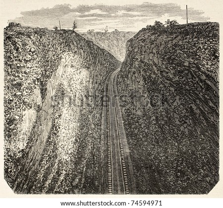 Old illustration of a Bloomer along Union Pacific Railroad, California, USA. Created by Blanchard, published on L'Illustration, Journal Universel, Paris, 1868