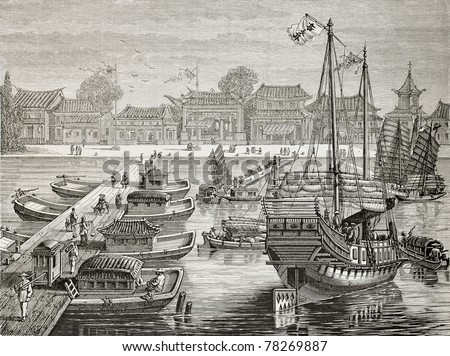 Old illustration of a boat bridge and other crafts in Tianjin. Created by Lebreton after Chinese drawing of unknown author, published on Le Tour du Monde, Paris, 1864 - stock photo