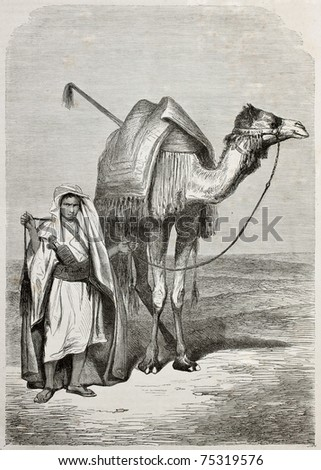 Old illustration of a boy holding camel's reins. Created by Pottin, published on Le Tour du Monde, Paris, 1864 - stock photo