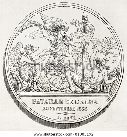 Old illustration of a commemorative medal of the battle of Alma, the first battle of Crimean war. Created by Bovy, published on L'Illustration, Journal Universel, Paris, 1857 - stock photo