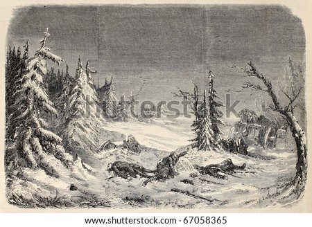 Old illustration of a dramatic scene during retreat from Russia. Original, from design of De Neuville, after décoration of Daran et Poison, published on L'Illustration, Journal Universel, Paris, 1860 - stock photo