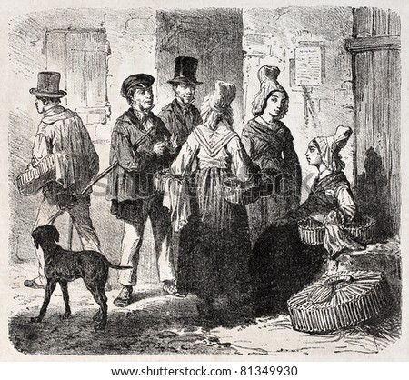 Old illustration of a Market day in Mamers, Sarthe, France. Created by Gaildrau, published on L'Illustration, Journal Universel, Paris, 1857 - stock photo