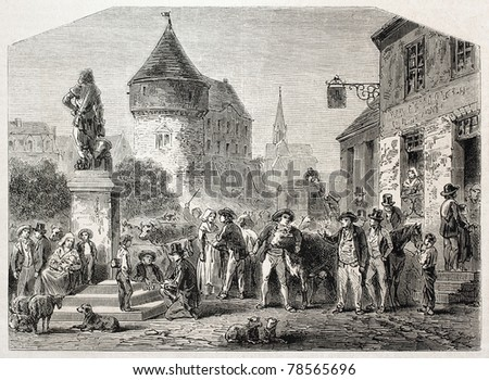 Old illustration of a market place in French traditional province of Maine. Created by Gaildrau after drawing of Latouche,  published on L'Illustration Journal Universel, Paris, 1857 - stock photo